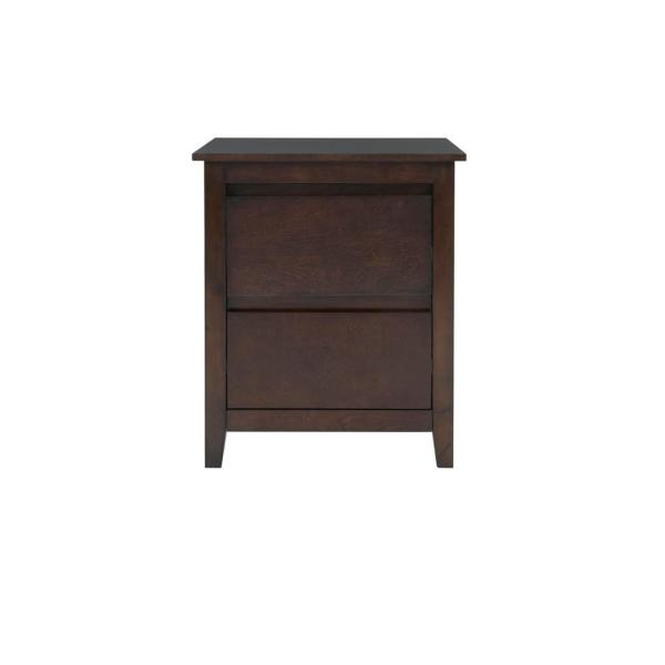 Alanis 2 Drawer Chocolate Wood Nightstand (22 in W. X 26 in H.)