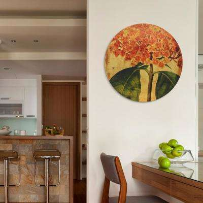"""Vibrant Floral"" Circular Gold Canvas Giclee Printed on 2"" Wood Stretcher Wall Art"
