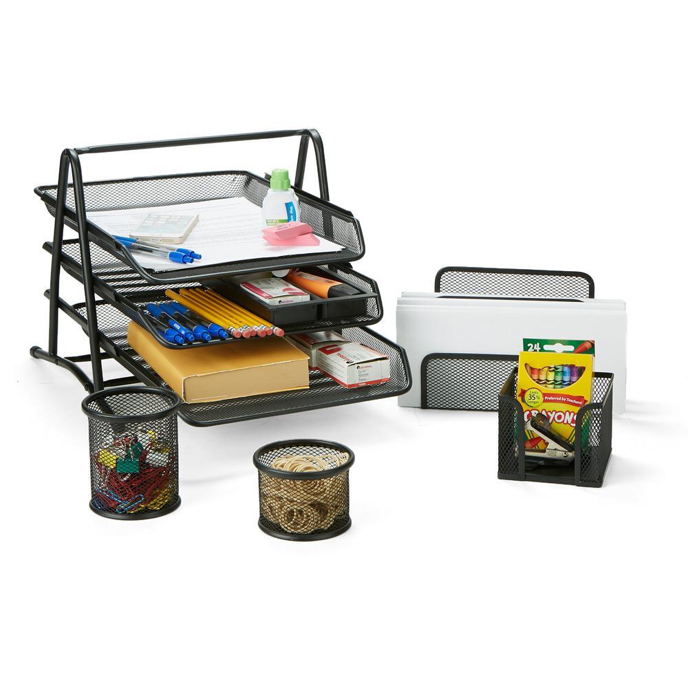 Mind Reader Metal Mesh 5 Piece Office Desk Organizer Set In Black