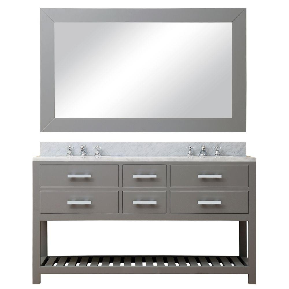 Water Creation 60 in. W x 21.5 in. D Vanity in Cashmere Grey with Marble Vanity Top in Carrara White, Mirror and Chrome Faucets