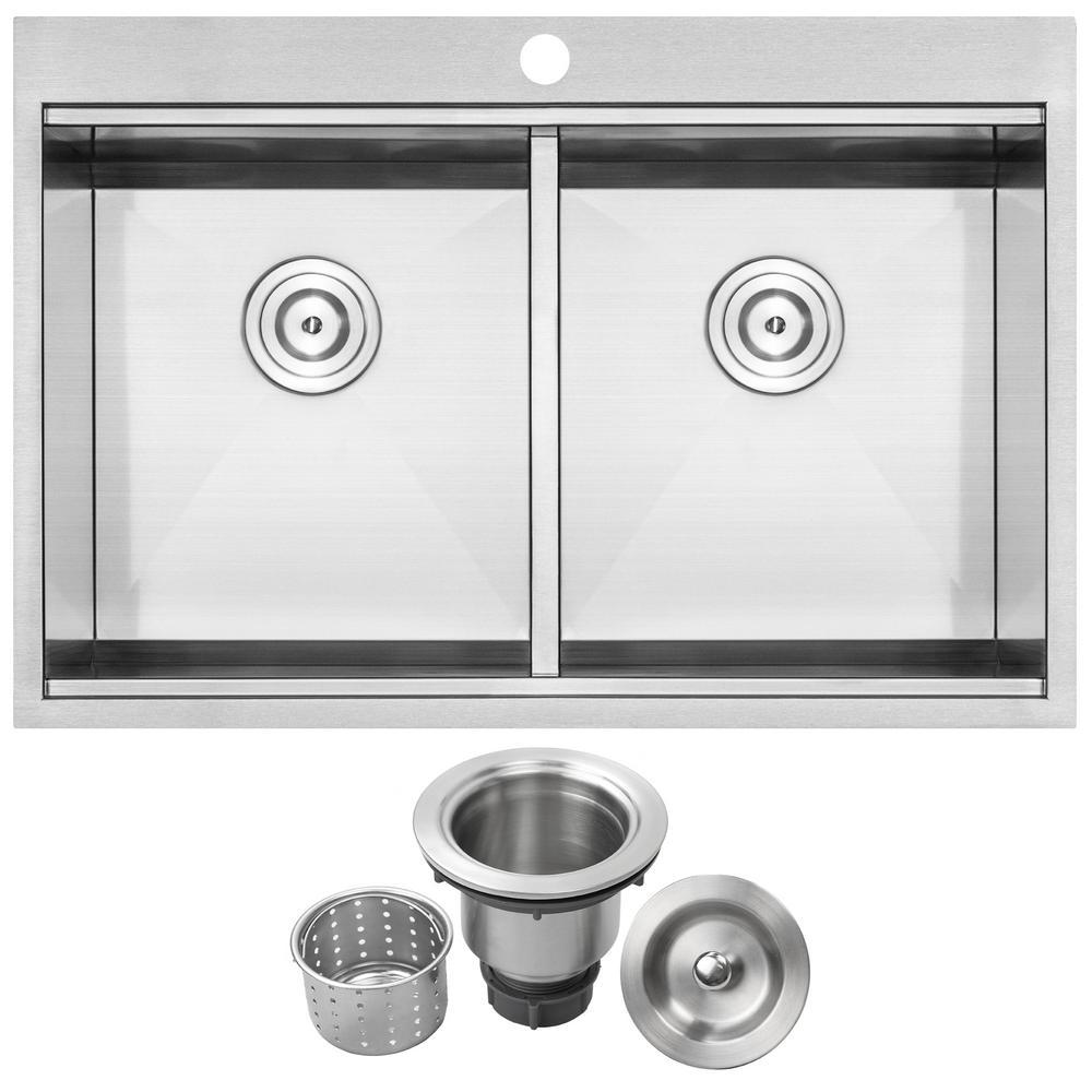 Bradford Zero Radius Drop-in 16-Gauge Stainless Steel 33 in. 1-Hole Double Basin Kitchen Sink with Basket Strainer