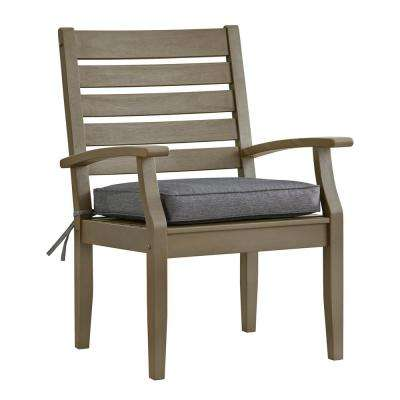 Verdon Gorge Gray Oiled Wood Outdoor Dining Arm Chair with Gray Cushion (Set of 2)