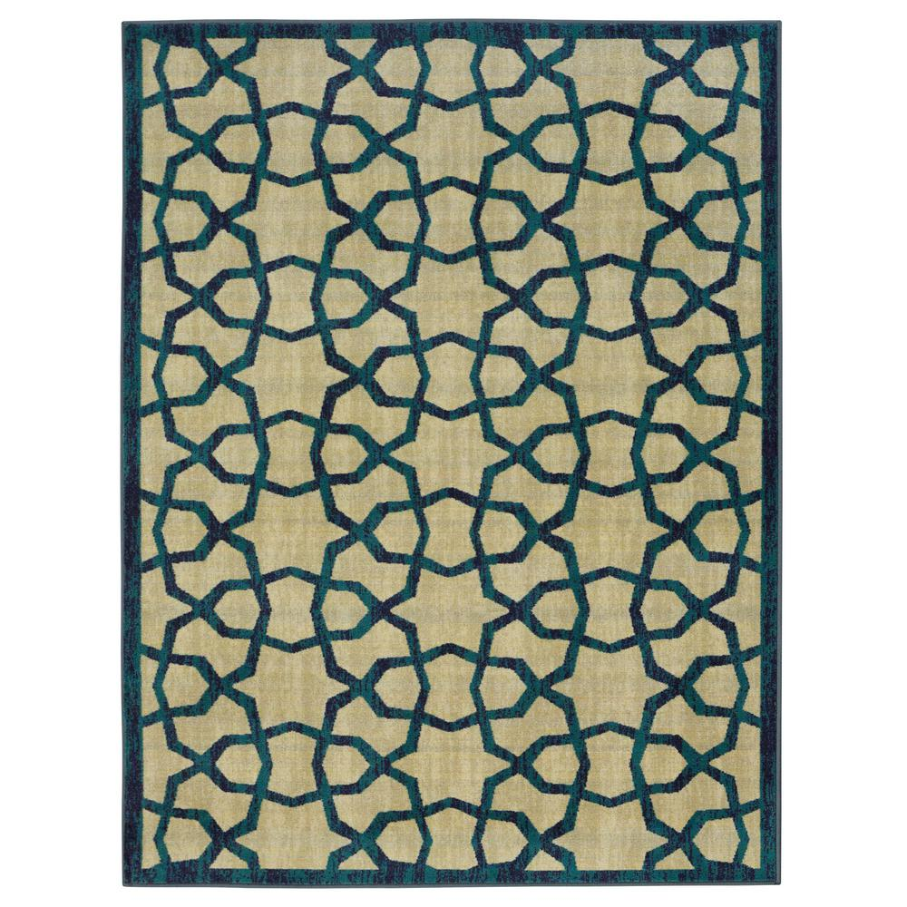 Ottomanson Authentic Collection Contemporary Geometric Trellis Design Green 3 ft. x 5 ft. Area Rug