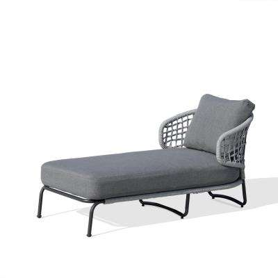 Indiana Grey Removable Cushion Metal Outdoor Lounge Chair with Olefin Grey Cushion