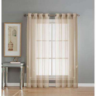 Sheer Sheer Elegance 84 in. L Grommet Curtain Panel Pair, Beige (Set of 2)