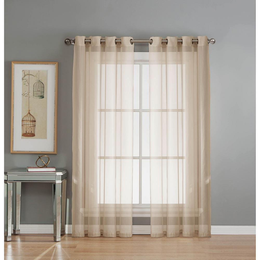 Window Elements Sheer Sheer Elegance 84 in. L Grommet Curtain Panel Pair, Beige (Set of 2)