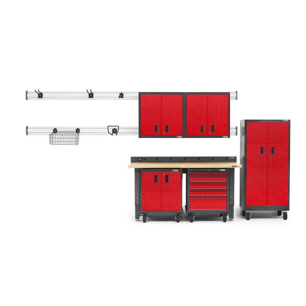 Gladiator Premier Series 90 in. H x 102 in. W x 25 in.D Steel Garage Cabinet and Wall Storage System in Red Tread Plate (14-Piece)
