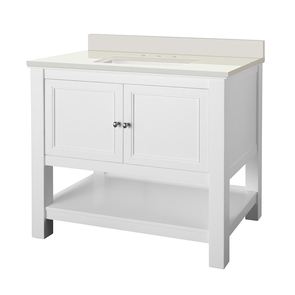 Home Decorators Collection Gazette 37 in. W x 22 in. D Vanity in White with Engineered Marble Vanity Top in Winter White with White Sink