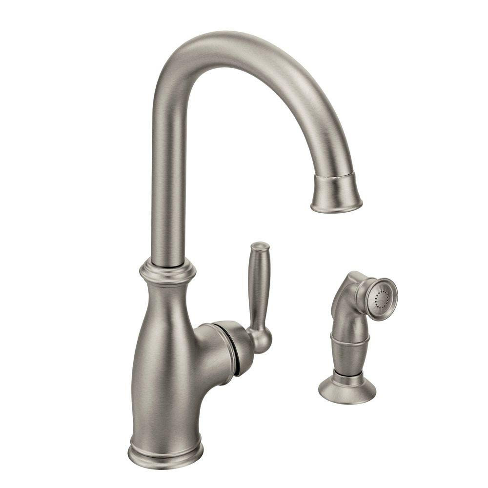 MOEN Brantford Single-Handle High Arc Side Sprayer Kitchen Faucet in Classic Stainless