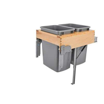 21 in. H x 15.25 in. W x 21.75 in. D Double Pull-Out Top Mount Wood and Silver Container with Rev-A-Motion Soft-Close