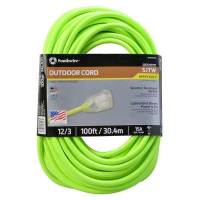 100 ft. 12-3 SJTW Neon Green Extension Cord