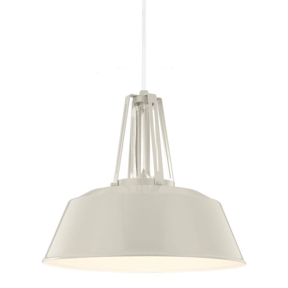 Feiss Freemont 16 In W 1 Light Hi Gloss Gray Warehouse Style Pendant With Linear Crystal Crown Detail And White Cord