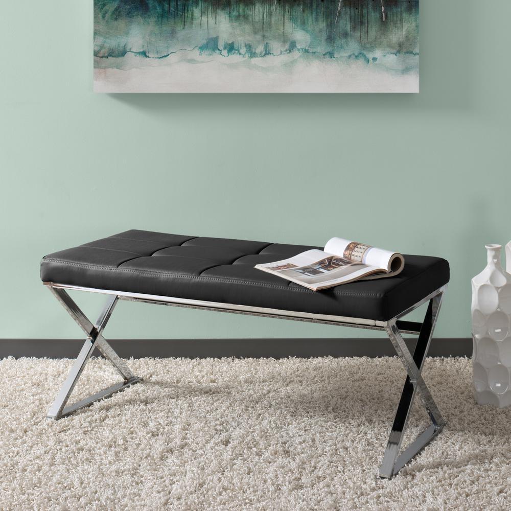 Huntington Modern Black Leatherette Bench with X-Shape Chrome Base