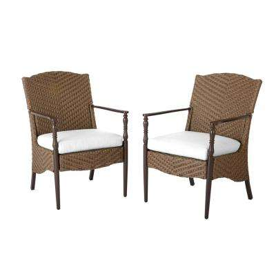 Bolingbrook Stationary Wicker Outdoor Dining Chair with Cushions Included, Choose Your Own Color (2-Pack)