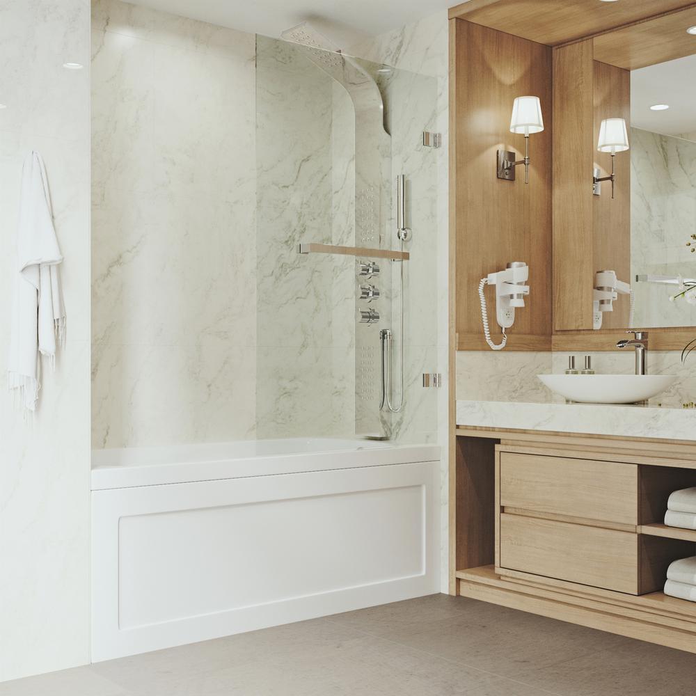 VIGO Rialto 34 in. Bathtub Door with .3125 in. Clear Glass and ...
