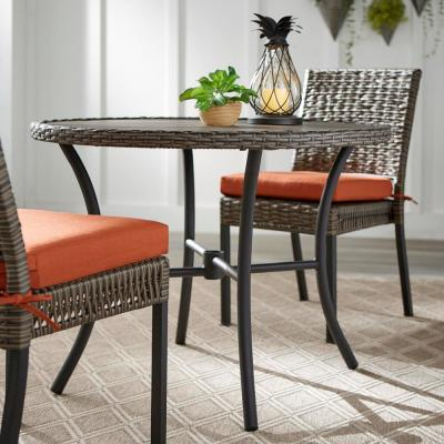 Laguna Point 38 in. Wicker Trim Round Outdoor Patio Dining Table