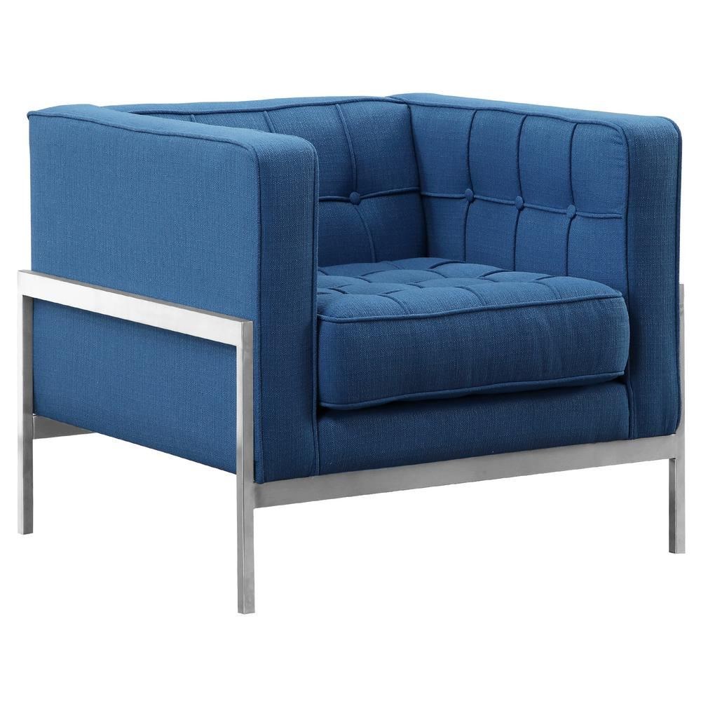 andre armen living blue fabric contemporary sofa chair in brushed