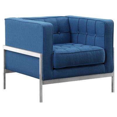 Armen Living Blue Fabric Contemporary Sofa Chair in Brushed Stainless Steel