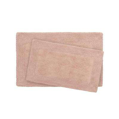 17 in. x 24 in. and 20 in. x 32 in. Blush Ruffle Cotton Bath Rug Set (2-Piece)