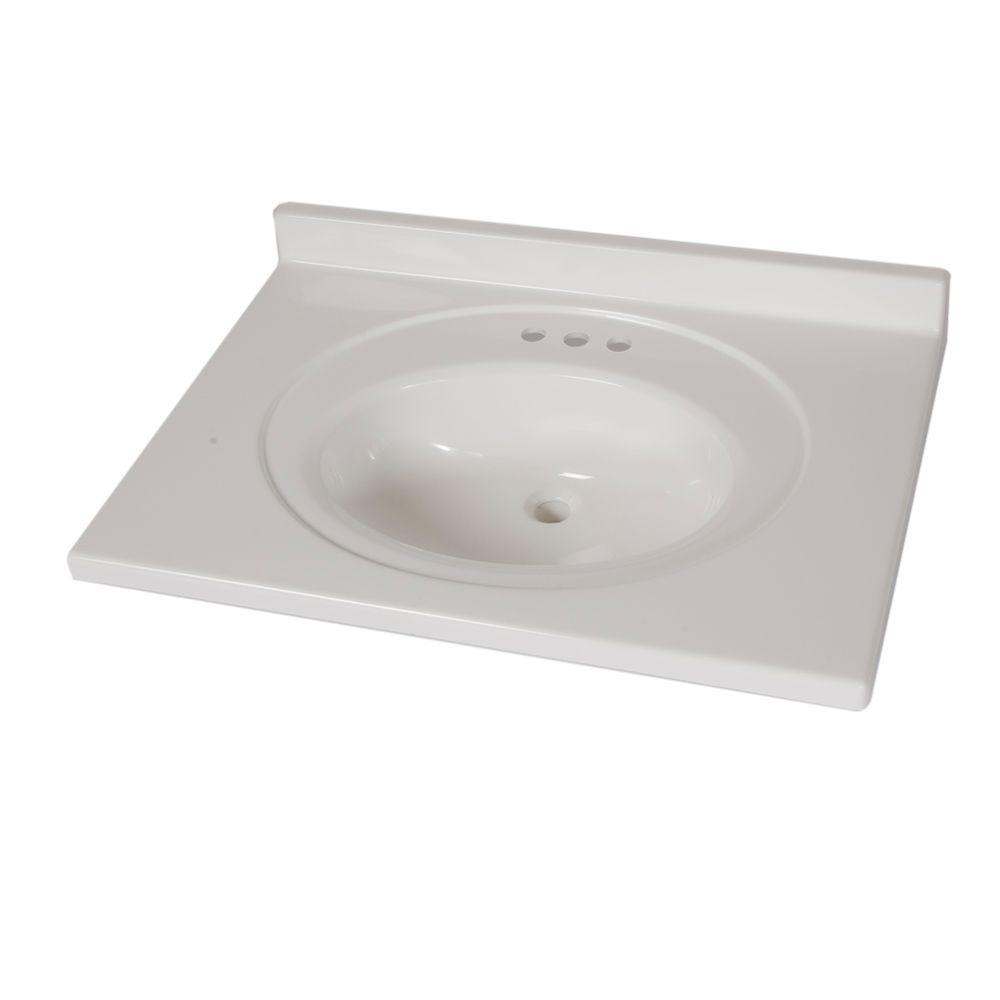 St. Paul 31 in. x 22 in. AB Engineered Technology Vanity Top in White with White Bowl