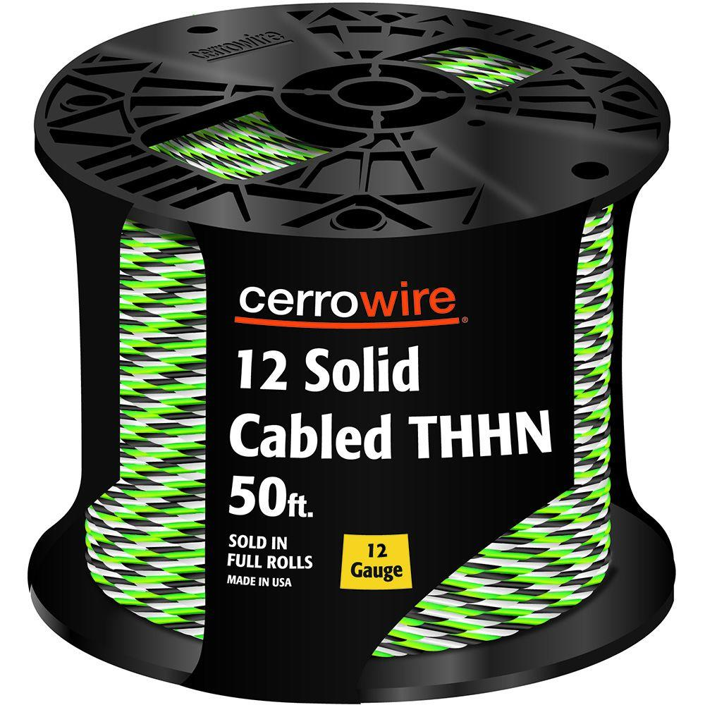 Cerrowire 50 ft. 12-3 Black, White and Green Cabled Solid THHN ...