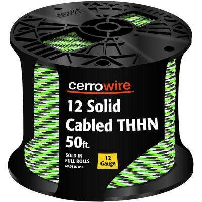 50 ft. 12-3 Black, White and Green Cabled Solid THHN Cable