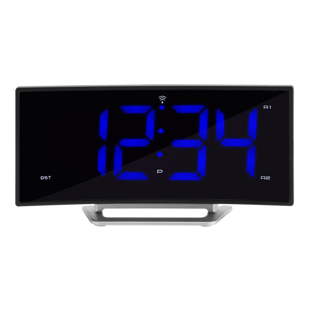La crosse technology 18 in curved blue led atomic dual alarm la crosse technology 18 in curved blue led atomic dual alarm clock 617 249 the home depot amipublicfo Gallery