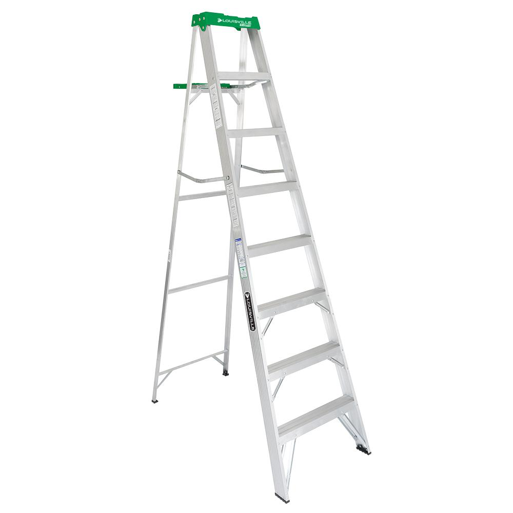 Louisville Ladder 8 Ft Aluminum Step Ladder 225 Lbs Load Capacity Type Ii Duty Rating As4008 The Home Depot