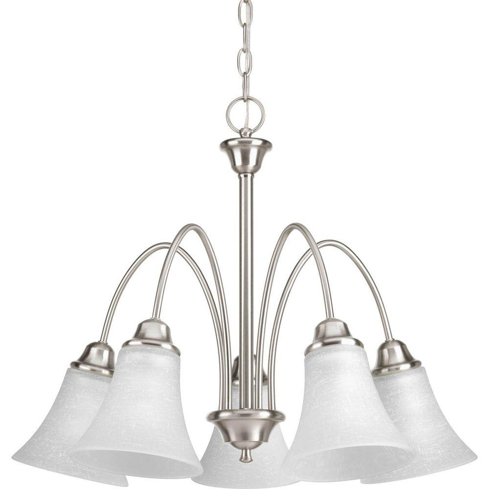 Progress Lighting Tally Collection 5 Light Brushed Nickel Chandelier Cheap Emergency Lights Using D313 With Linen Finished Glass Shade