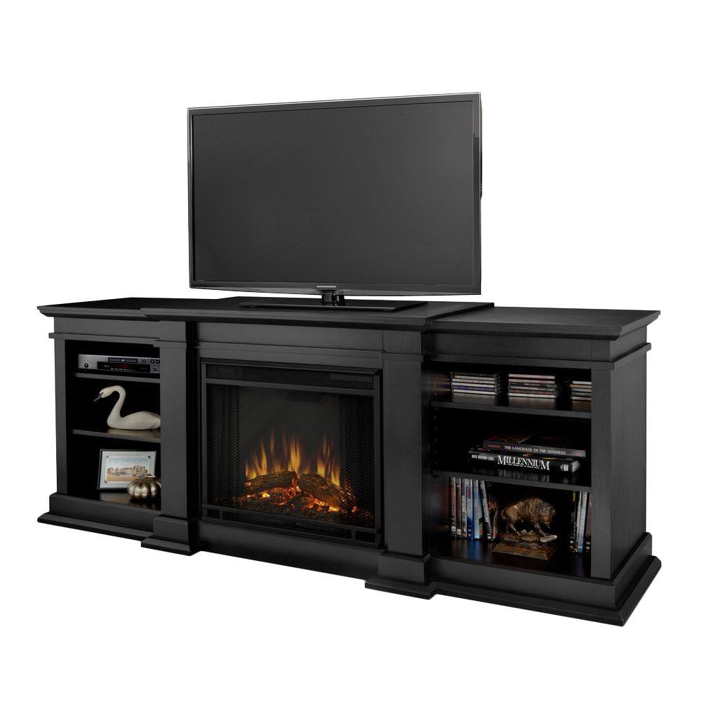Real Flame Fresno 72 in. Media Console Electric Fireplace TV Stand in Black