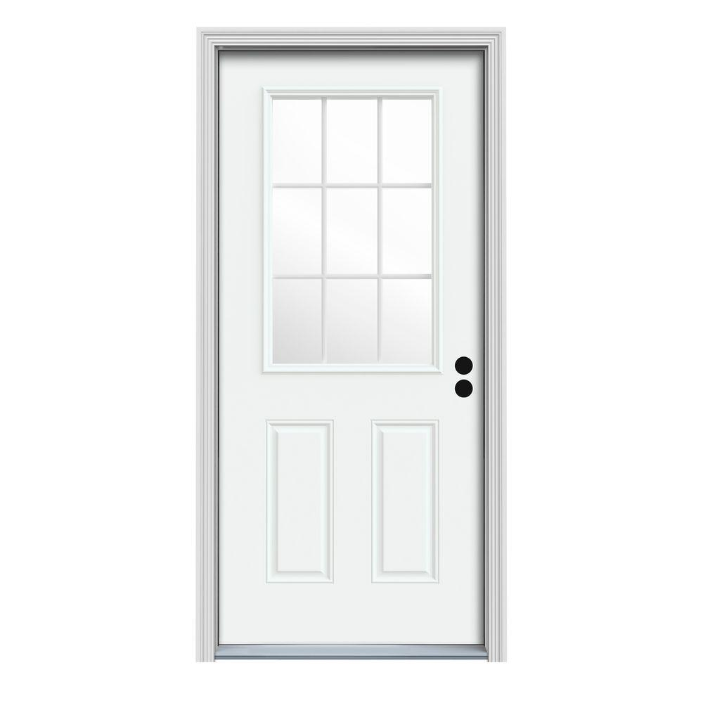 Fine Jeld Wen 32 In X 80 In 9 Lite White Painted Steel Prehung Left Hand Inswing Front Door W Door Handles Collection Olytizonderlifede