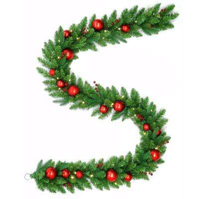 9 ft. Battery Operated Mixed Fir Artificial Garland with 50 Clear LED Lights