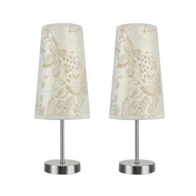 14-1/4 in. Satin Nickel Candlestick Table Lamp with Hardback Empire Lamp Shade in Ivory (2-Pack)