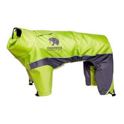 Medium Light Yellow and Grey Quantum-Ice Full-Bodied Adjustable and 3M Reflective Dog Jacket with Blackshark Technology