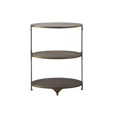 Collected Notions 30.75 in. Antique Gold Oval Metal 3-Tier Shelf/Side Table