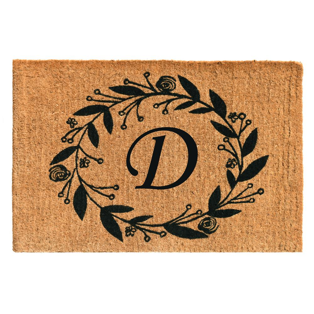 Black Rose 24 in. x 36 in. Monogram D Door Mat