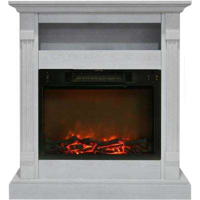 Drexel 34 in. Electric Fireplace with 1500-Watt Log Insert and White Mantel
