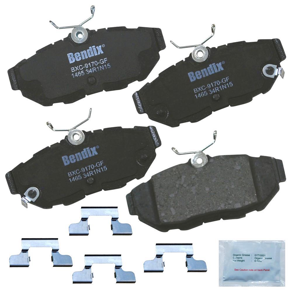 with Installation Hardware Rear Bendix CFC1020 Premium Copper Free Ceramic Brake Pad