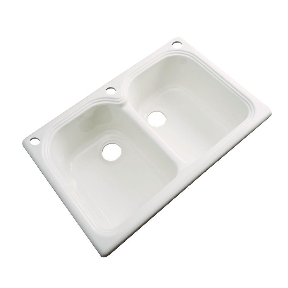 Thermocast Hartford Drop-In Acrylic 33 in. 3-Hole Double Bowl Kitchen Sink in Almond