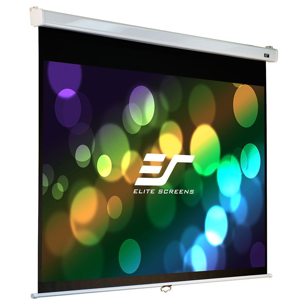 Elite Screens 84 in. Manual Fiber Glass Backed Slow Retract Projection Screen