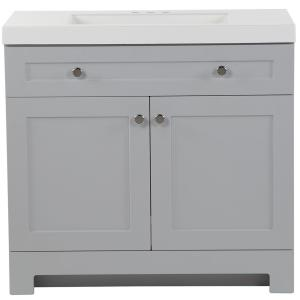 Everdean 36.50 in. W x 18.75 in. D Bath Vanity in Pearl Gray with Cultured Marble Vanity Top in White with White Basin