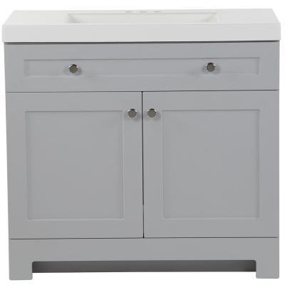 Everdean 36.5 in. W x 19 in. D x 34 in. H Vanity in Pearl Gray with Cultured Marble Vanity Top in White with White Sink