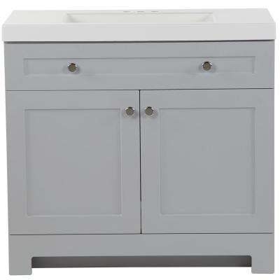 Everdean 36.5 in. W x 19 in. D x 34 in. H Vanity in Pearl Gray with Cultured Marble Vanity Top in White with White Basin