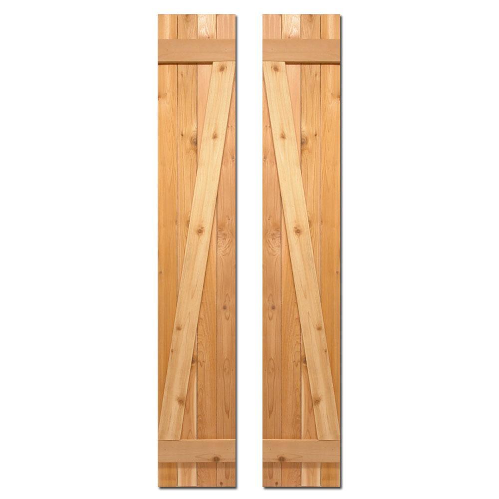 12 in. x 55 in. Board-N-Batten Baton Z Shutters Pair Natural Cedar