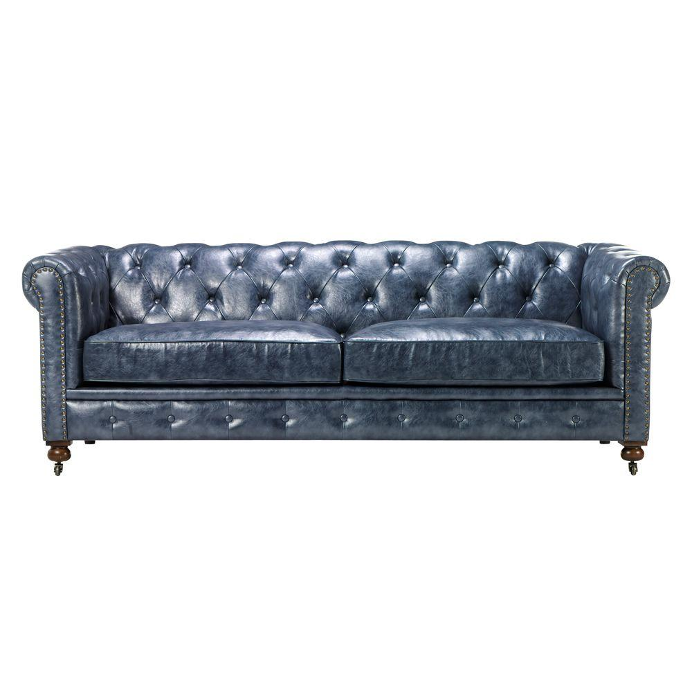 Home Decorators Collection Gordon Blue Leather Sofa-0849400310 - The ...