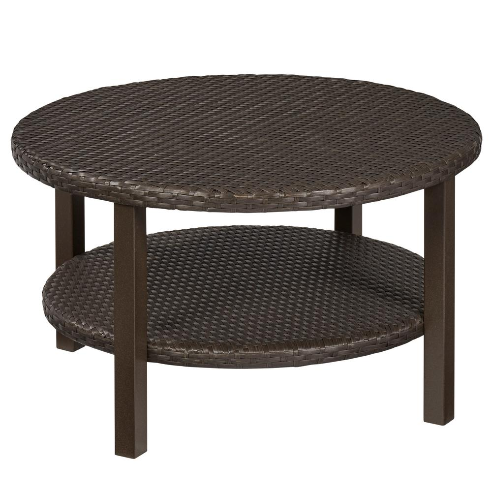Hampton bay torquay outdoor coffee table with shelf fws60528b the home depot Patio coffee tables
