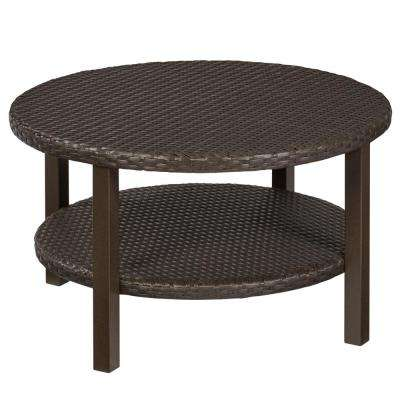 round outdoor coffee table Round   Hampton Bay   Brown   Outdoor Coffee Tables   Patio Tables  round outdoor coffee table