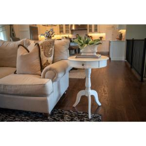 Decor Therapy Pedestal Antique White End Table with Drawer ...