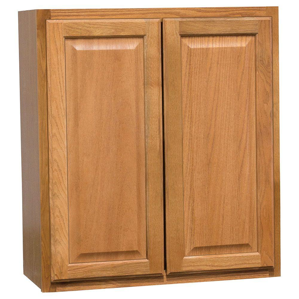 hampton bay hampton assembled 27x30x12 in wall kitchen cabinet in medium oak kw2730 mo the. Black Bedroom Furniture Sets. Home Design Ideas