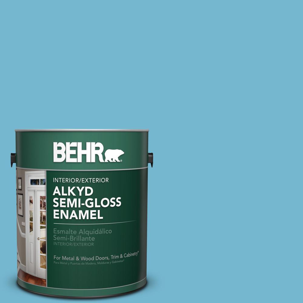 1 gal. #M480-4 Below Zero Semi-Gloss Enamel Alkyd Interior/Exterior Paint